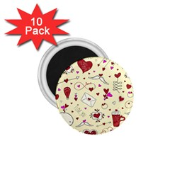 Valentinstag Love Hearts Pattern Red Yellow 1.75  Magnets (10 pack)