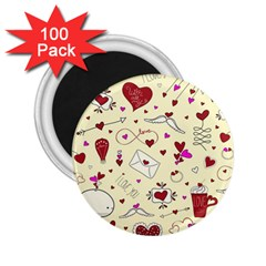 Valentinstag Love Hearts Pattern Red Yellow 2.25  Magnets (100 pack)