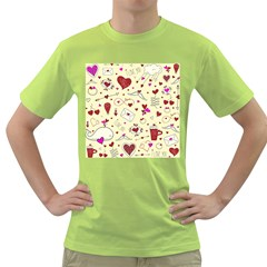 Valentinstag Love Hearts Pattern Red Yellow Green T-Shirt