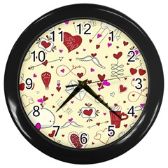 Valentinstag Love Hearts Pattern Red Yellow Wall Clocks (Black)