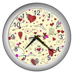 Valentinstag Love Hearts Pattern Red Yellow Wall Clocks (Silver)