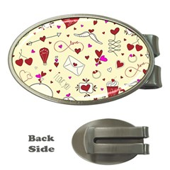 Valentinstag Love Hearts Pattern Red Yellow Money Clips (Oval)