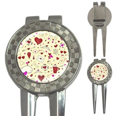 Valentinstag Love Hearts Pattern Red Yellow 3-in-1 Golf Divots