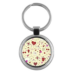 Valentinstag Love Hearts Pattern Red Yellow Key Chains (Round)