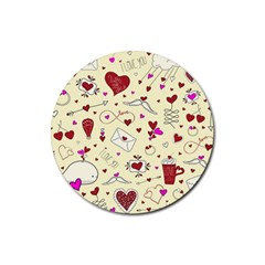 Valentinstag Love Hearts Pattern Red Yellow Rubber Round Coaster (4 pack)