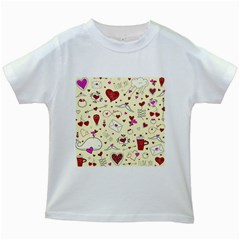 Valentinstag Love Hearts Pattern Red Yellow Kids White T-Shirts
