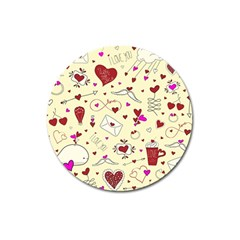 Valentinstag Love Hearts Pattern Red Yellow Magnet 3  (Round)