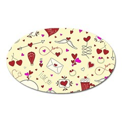 Valentinstag Love Hearts Pattern Red Yellow Oval Magnet