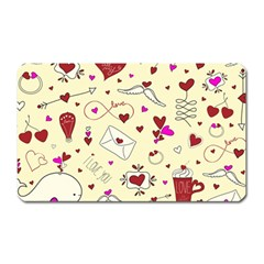 Valentinstag Love Hearts Pattern Red Yellow Magnet (Rectangular)