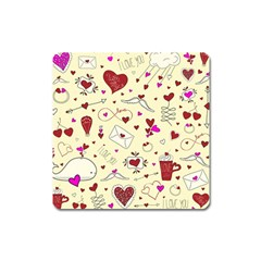 Valentinstag Love Hearts Pattern Red Yellow Square Magnet