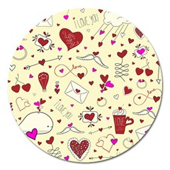 Valentinstag Love Hearts Pattern Red Yellow Magnet 5  (Round)