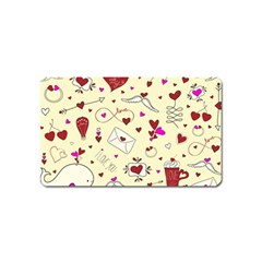 Valentinstag Love Hearts Pattern Red Yellow Magnet (Name Card)