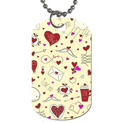 Valentinstag Love Hearts Pattern Red Yellow Dog Tag (One Side)