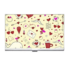 Valentinstag Love Hearts Pattern Red Yellow Business Card Holders