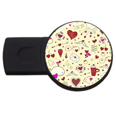Valentinstag Love Hearts Pattern Red Yellow USB Flash Drive Round (1 GB)