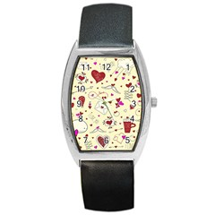 Valentinstag Love Hearts Pattern Red Yellow Barrel Style Metal Watch