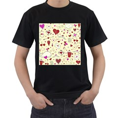 Valentinstag Love Hearts Pattern Red Yellow Men s T-Shirt (Black) (Two Sided)