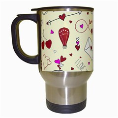 Valentinstag Love Hearts Pattern Red Yellow Travel Mugs (White)