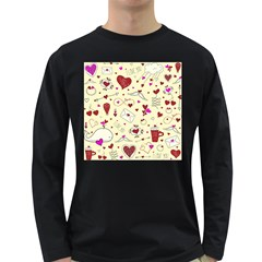 Valentinstag Love Hearts Pattern Red Yellow Long Sleeve Dark T-Shirts