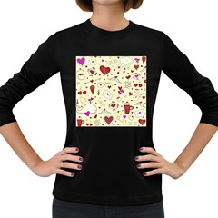 Valentinstag Love Hearts Pattern Red Yellow Women s Long Sleeve Dark T-Shirts