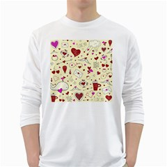 Valentinstag Love Hearts Pattern Red Yellow White Long Sleeve T-Shirts