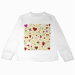 Valentinstag Love Hearts Pattern Red Yellow Kids Long Sleeve T-Shirts