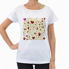 Valentinstag Love Hearts Pattern Red Yellow Women s Loose-Fit T-Shirt (White)