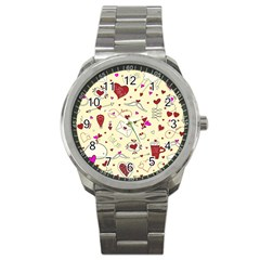 Valentinstag Love Hearts Pattern Red Yellow Sport Metal Watch
