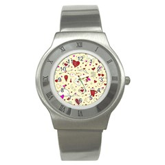 Valentinstag Love Hearts Pattern Red Yellow Stainless Steel Watch