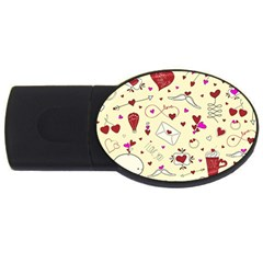 Valentinstag Love Hearts Pattern Red Yellow USB Flash Drive Oval (4 GB)