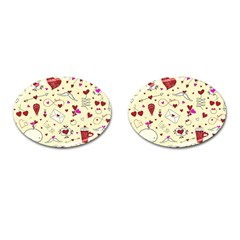 Valentinstag Love Hearts Pattern Red Yellow Cufflinks (Oval)