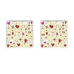 Valentinstag Love Hearts Pattern Red Yellow Cufflinks (Square)