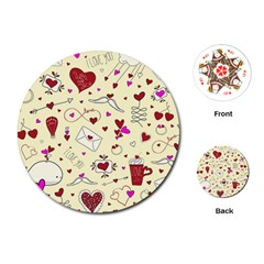 Valentinstag Love Hearts Pattern Red Yellow Playing Cards (Round)