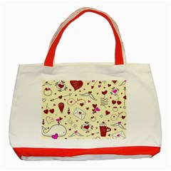 Valentinstag Love Hearts Pattern Red Yellow Classic Tote Bag (Red)