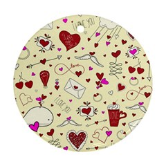 Valentinstag Love Hearts Pattern Red Yellow Round Ornament (Two Sides)