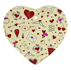 Valentinstag Love Hearts Pattern Red Yellow Heart Ornament (Two Sides)