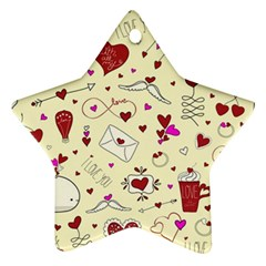 Valentinstag Love Hearts Pattern Red Yellow Star Ornament (Two Sides)