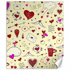 Valentinstag Love Hearts Pattern Red Yellow Canvas 8  x 10