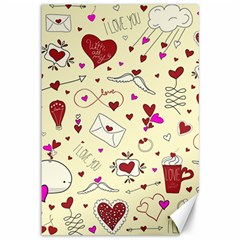 Valentinstag Love Hearts Pattern Red Yellow Canvas 12  x 18