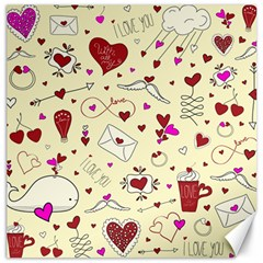 Valentinstag Love Hearts Pattern Red Yellow Canvas 20  x 20