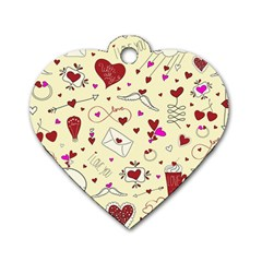 Valentinstag Love Hearts Pattern Red Yellow Dog Tag Heart (Two Sides)