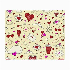 Valentinstag Love Hearts Pattern Red Yellow Small Glasses Cloth (2-Side)