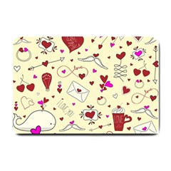 Valentinstag Love Hearts Pattern Red Yellow Small Doormat