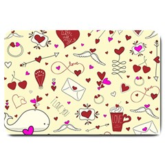 Valentinstag Love Hearts Pattern Red Yellow Large Doormat