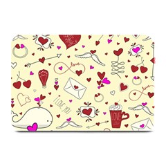 Valentinstag Love Hearts Pattern Red Yellow Plate Mats