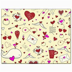 Valentinstag Love Hearts Pattern Red Yellow Canvas 11  x 14