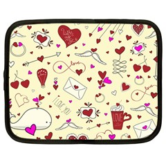 Valentinstag Love Hearts Pattern Red Yellow Netbook Case (Large)