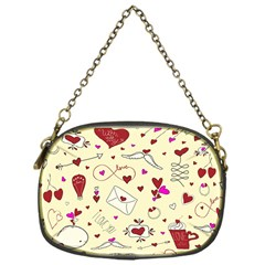 Valentinstag Love Hearts Pattern Red Yellow Chain Purses (One Side)