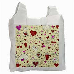 Valentinstag Love Hearts Pattern Red Yellow Recycle Bag (Two Side)