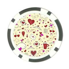 Valentinstag Love Hearts Pattern Red Yellow Poker Chip Card Guard (10 pack)